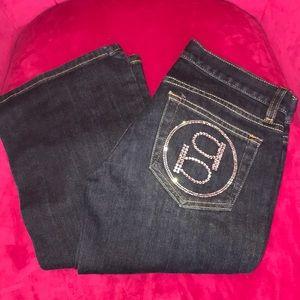 Bebe Swarovski crystal denim petite bootcut jeans